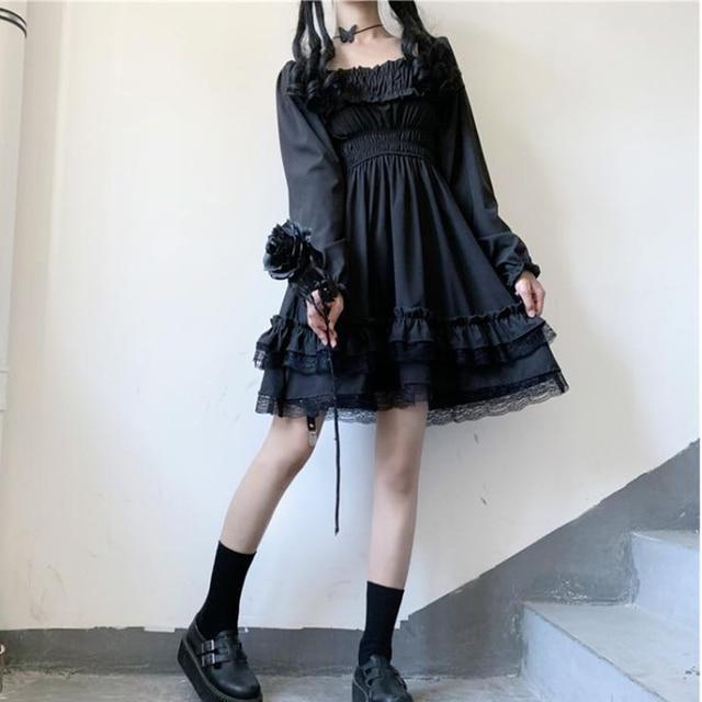Japanese Lolita Style Women Princess Black Mini Dress Slash Neck High Waist Gothic Dress Puff Sleeve Lace Ruffles Party Dresses 2