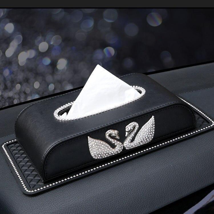 Car Tissue Box Creative Twin Swan Diamond Set Car Tissue Box Top Grade Car Mounted Seat Type Paper Extraction Box