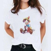 T-shirt à manches courtes pour femme, hauts val et unisexe, Harajuku, chat mignon, Pinocchio