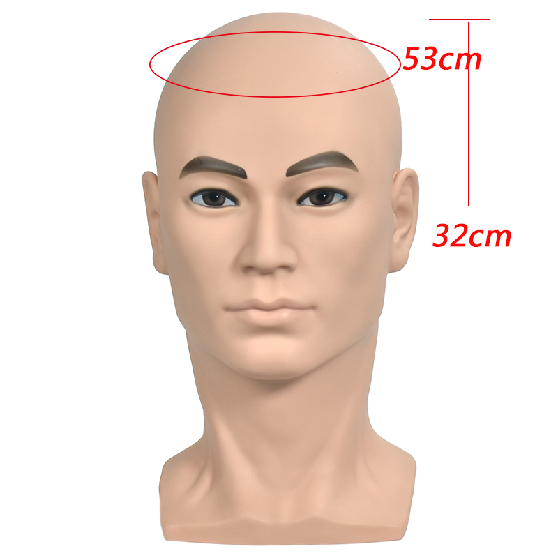 PVC Male Head Mannequin Wig Training Head with Shoulder Wigs Head with stander Cap Earphone Glasses Display Head