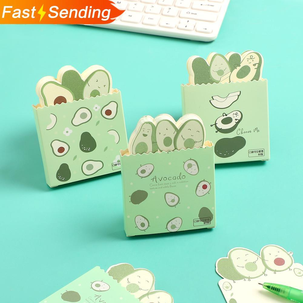 JIANWU 1PC Cute Avocado Memo Notes Mini Supporting Scratch Note Pad Kawaii Draft Book Color Inner Page School Supplies