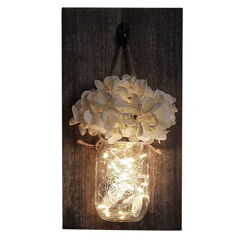 ABUI Ins Rustic Mason Jar Wall Sconces With Led Fairy Lights Flowers For Country Home Wedding