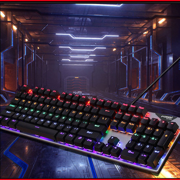 Gaming Mechanical Keyboard With LED Backlight USB Wired Keyboards Luminous Blue Swich for PC Laptop Russian Sticker 5