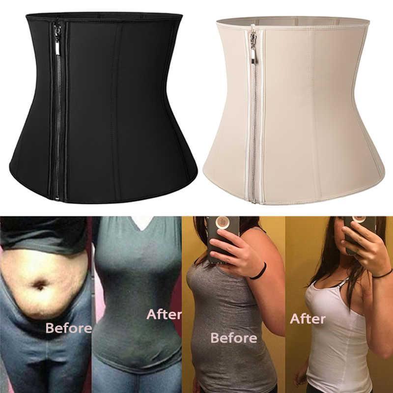 Corset Body Shaper Latex เอวเทรนเนอร์ซิป Underbust Slim Tummy เอว Cincher Slimming Shaper เข็มขัด Shapewear ผู้หญิง