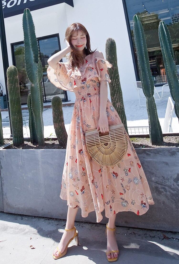 2021 Summer New Chiffon Floral Printed Dress Fashion Temperament Off-shoulder Ruffled Sleeves Long Dresses Female LR1435
