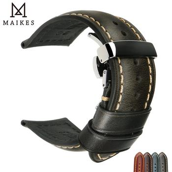 MAIKES Genuine Leather Watchband 18mm-24mm Calf Watch Band Butterfly Buckle Strap Bracelet Accessories Wristbands