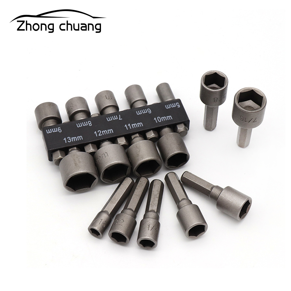 9 Pieces / Set 5-13mm Magnetic Nut Screwdriver Screwdriver Set Hexagon Socket Sleeve Nozzle Wrench Set Powerful Sleeve Drill Pow