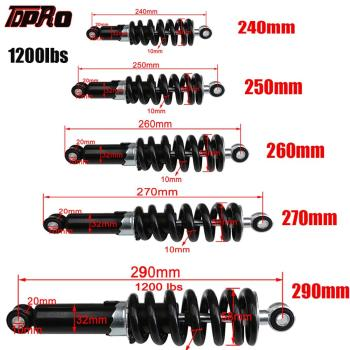 TDPRO Universal 240/250/260/270/290mm Motorcycle Shock Absorber Suspension Protection Rear Shocker Absorbers 1200LBS Dirt Bikes