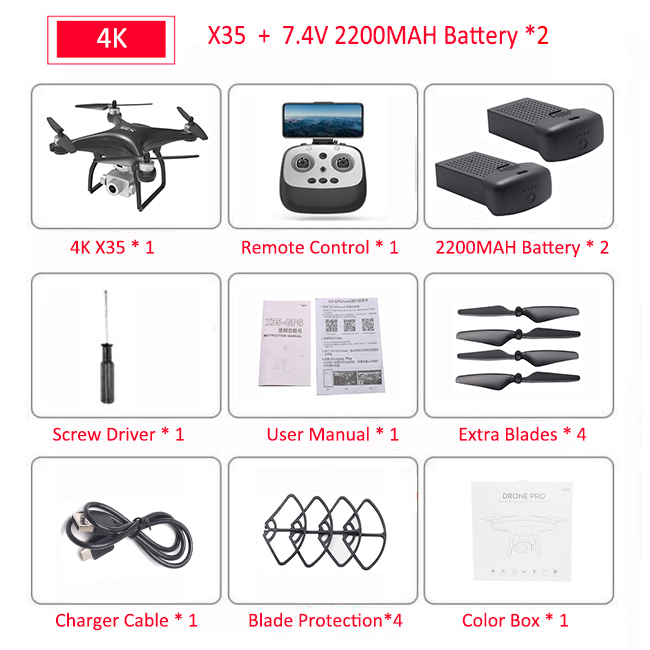 X35 GPS Drone With 4K HD 3-Axis Anti-Shake Gimbal Camera 5G WIFI Brushless Professional 30Mins Flight VS SG906 PRO RC Quadcopter