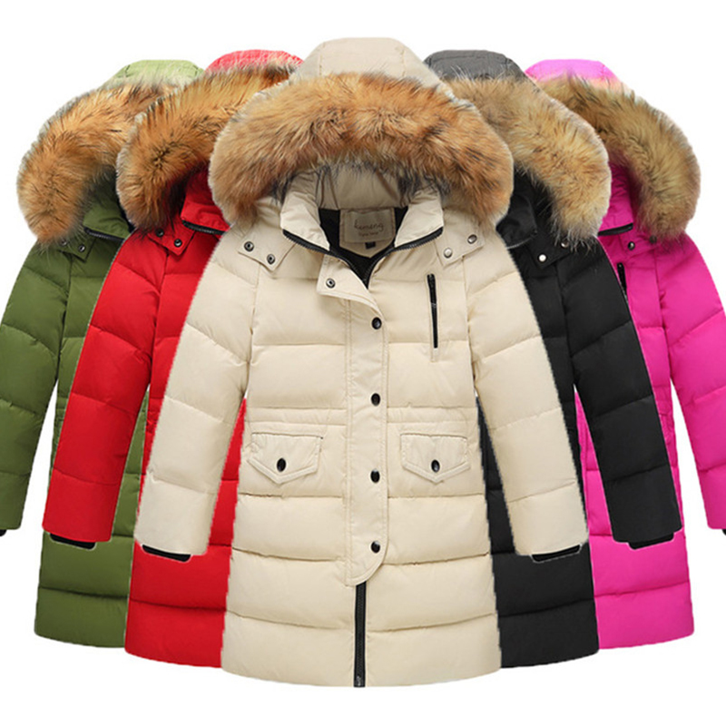 Winter Boys & Girls Duck Down Jacket For Thickening Warm Jackets Long Big Fur Hooded Outerwear Coats