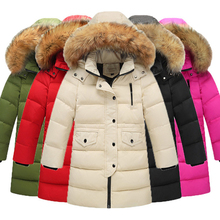 Winter Boys & Girls Winter Duck Down Jacket For Girls Thickening Warm Down Jackets For Boys Long Big Fur Hooded Outerwear Coats стоимость