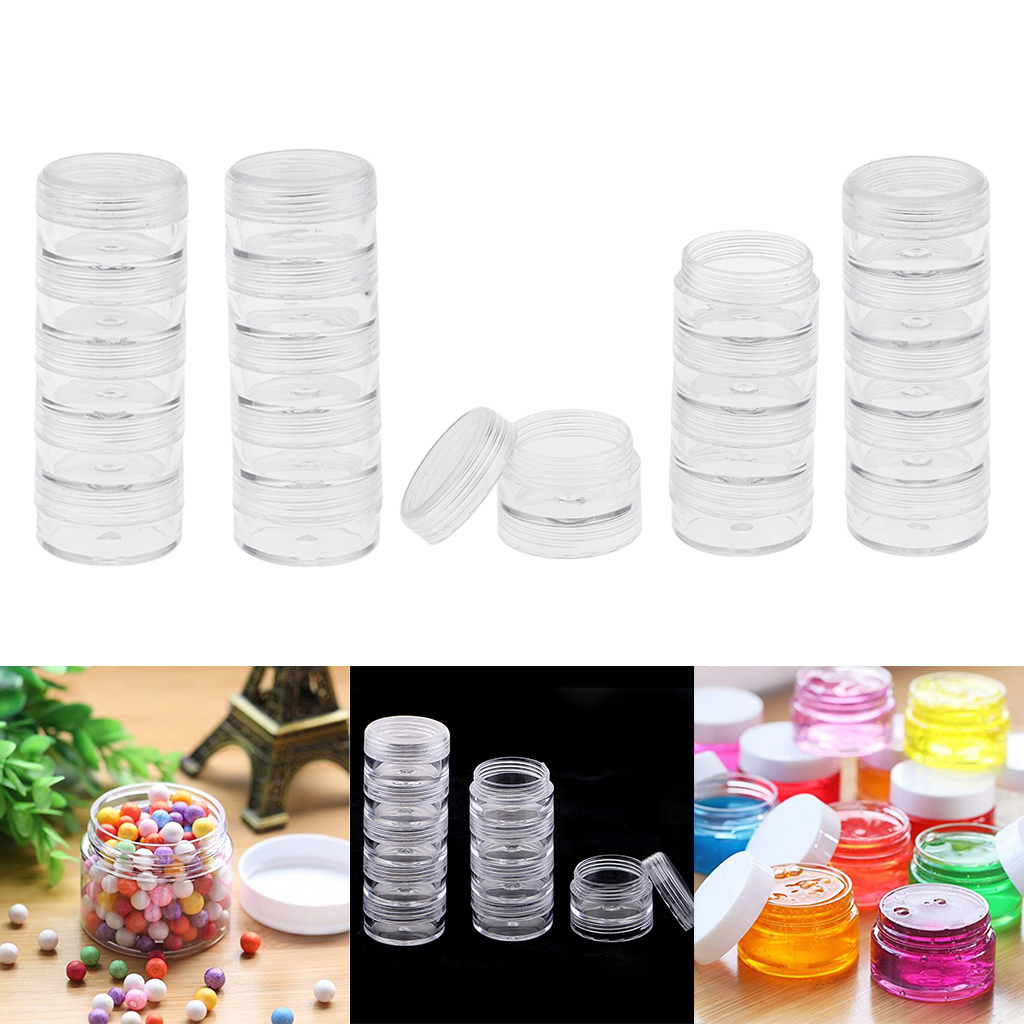 4x5 Stackable Clear Jar Small Parts Storage Box Screw Jar Nail Art Container