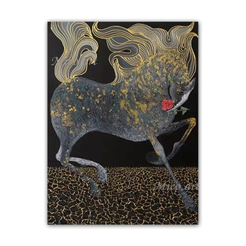 Decorative Items Newest Abstract Gold Textured Running Horse Oil Painting Wall Pictures Acrylic Paintings Wall Art Free Shipping