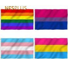 Радужный Флаг ЛГБТ, гей-Прайд, лесбиянок, 90х150 см, полиэстер, принт, Би-танс, сексуальные украшения для домашней вечеринки, флаги, баннеры