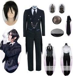 9 pçs preto butler 2 kuroshitsuji sebastian michaelis cosplay traje unissex uniforme dia das bruxas das mulheres dos homens cosplay traje e peruca