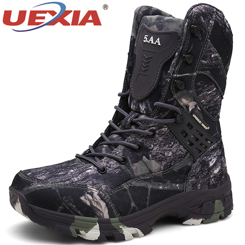 UEXIA 2020 Army Green Tactical Military Desert Camouflage High-top Combat Outdoor Sport Men's Boots Shoes Footwear Special Force