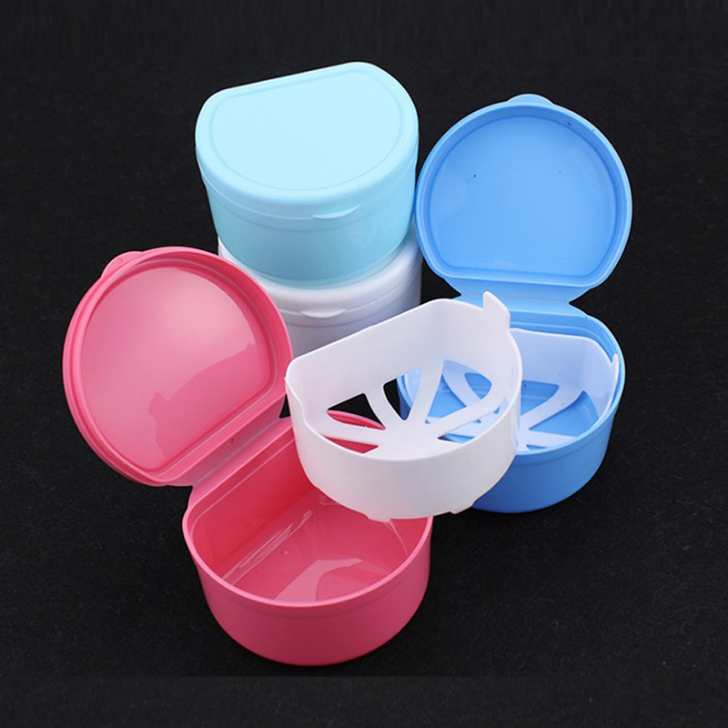 Container Denture-Box Dental-Case False-Teeth-Storage Bathroom Mouthguard with Hanging-Net title=