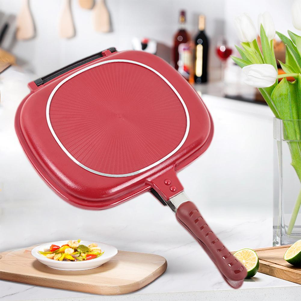 Foldable 28/32 CM Double-sided Frying Pan Non-stick Barbecue Cooking Tool Barbecue Frying Pan Non-stick Steak Frying Pan