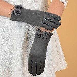 Женские зимние перчатки, перчатки на весь палец, бархатные теплые перчатки на запястье, толстые варежки с бантом, кружевные Элегантные Роскошные подарки для женщин, guantes