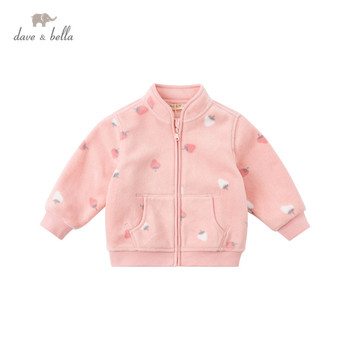 DB396-L dave bella spring baby unisex fashion cartoon print zipper coat children tops infant toddler outerwear image