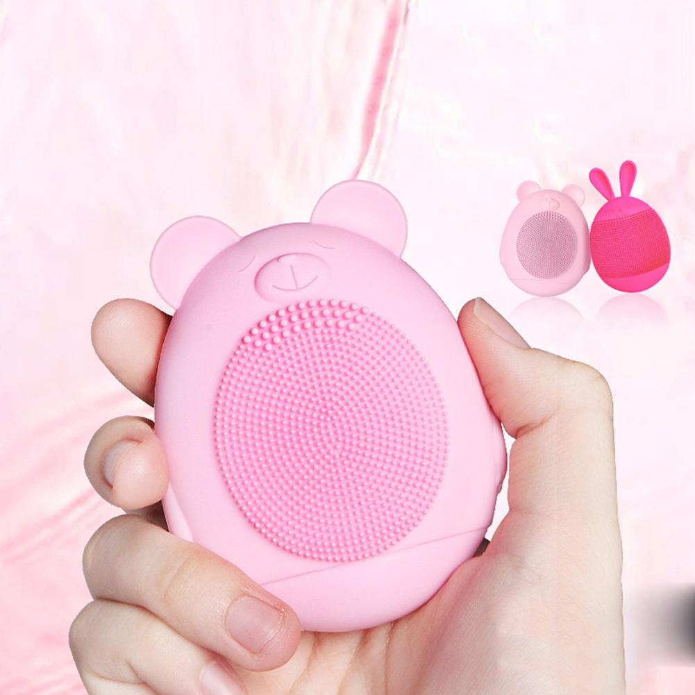 Lovely Bear Rabbit Ultrasonic Silicone Pores Cleaner Electric Face Blackhead Remover 10 Color  Vibration Cleanser