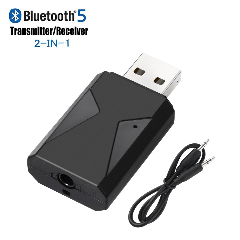 2 in 1 Bluetooth 5.0 Receiver & Transmitter Stereo Wireless Audio Adapter USB 3.5mm Jack With Mic For TV PC Phone Game Console