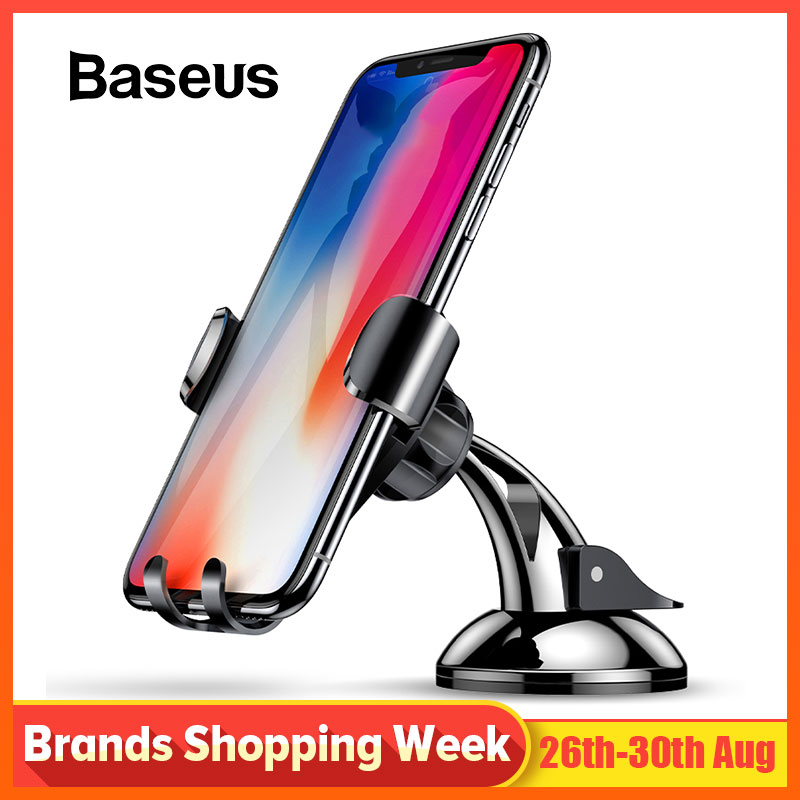 Baseus Gravity Car Holder Dashboard Sucker Phone Holder Stand in car Sucking Mobile Phone Holder For iPhone X 8 7 Huawei Mate 9