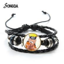 Bracelet Bangle Glass-Button Multilayer Kakashi Handmade Anime Gift Weaving Uzumaki Uchiha