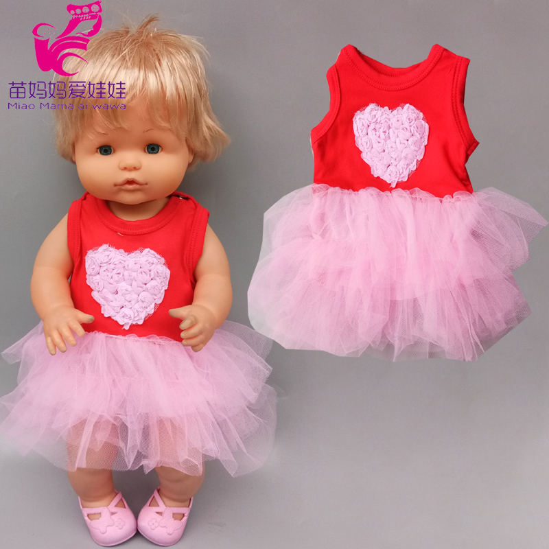 16 Inch Bebe Doll Pink Lace Tutu Dress For 40cm Nenuco Ropa Y Su Hermanita Toys Doll Clothes