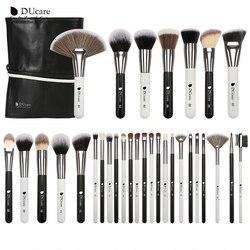 DUcare 31 шт. кисти для макияжа с сумкой черный/белый натуральный козья шерсть кисть для основы пудра консилер контур глаз Кисть для смешивания