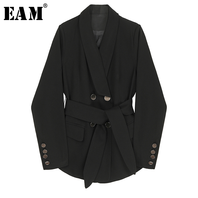 [EAM]  Women Black Double Breasted Bandage Blazer New Lapel Long Sleeve Loose Fit  Jacket Fashion Tide Spring Autumn 2020 1R540