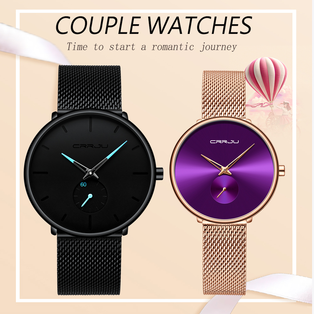 Couple Watch For Men And Women SCRRJU Tainless Steel Band Waterproof Lover's Watches Fashion Casual Wristwatch Gifts For Se