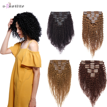 Remy Human-Hair-Extensions Hairpiece Human-Clip Curly Clip-In Kinky Natural-Color Brazilian