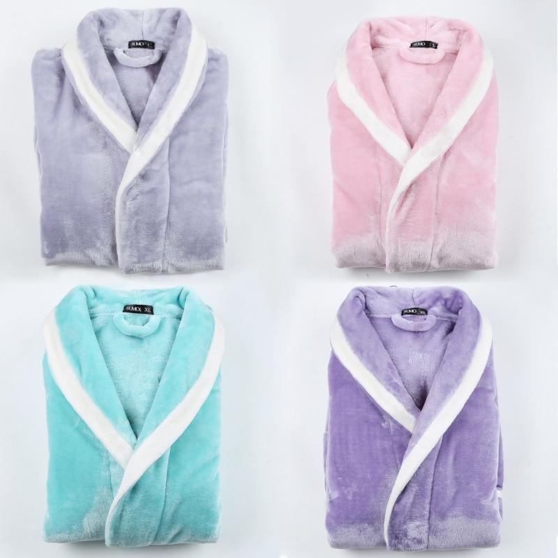 Women Winter Super Long Warm Flannel Bathrobe Plus Size Lovers  Pink Bath Robe Bride Soft Night Dressing Gown Men Sleepwear