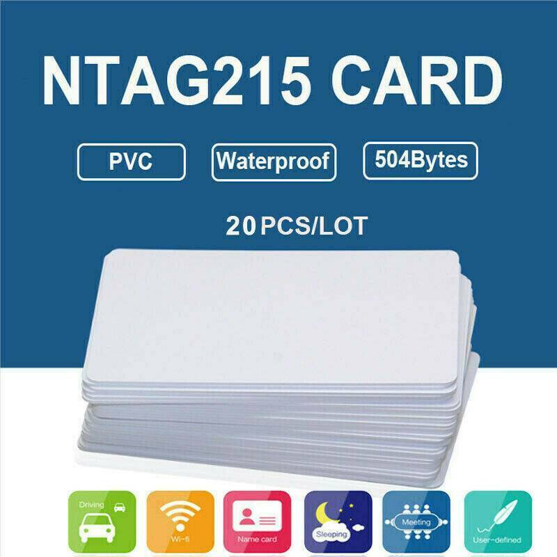 MOOL 20Pcs NFC Cards White Blank NTAG215 PVC Tags Waterpoof 504Bytes Chip Sticker