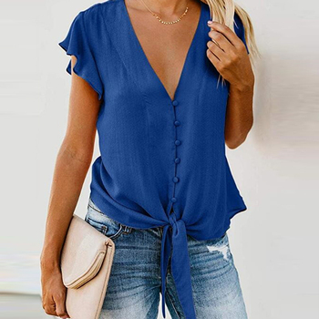 V-neck Button Blouses  1