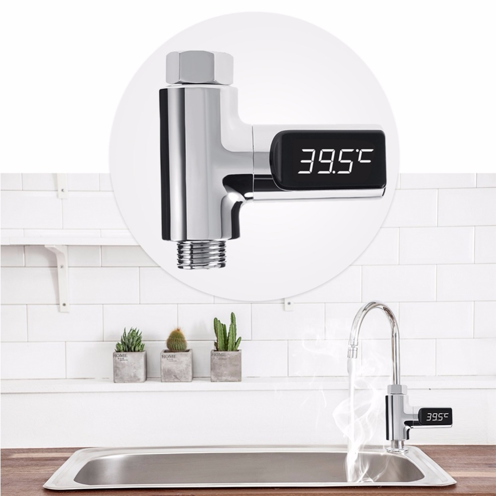 LED Display Celsius Water Temperature Meter Monitor Electricity Shower Thermometer 360 Degrees Rotation Flow Self-Generating New