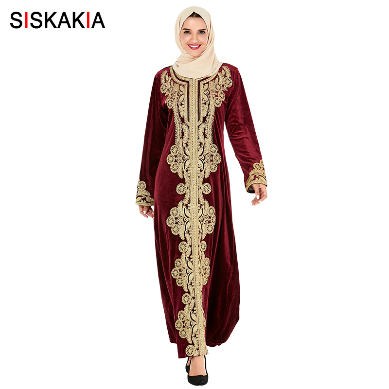 Siskakia Muslim Abaya Dress Luxury Velvet Vintage Golden Embroidery Dubai Robes Turkey Moroccan Dresses Party Wears