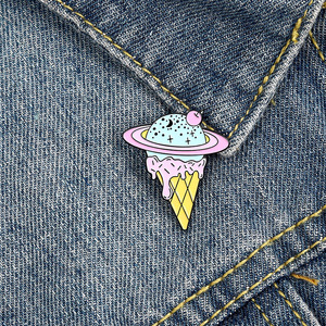 Enamel Pins Cosmic Star Brooch for Women Creative Space Ice Cream Brooches Lapel Pins Cartoon Corsage Exquisite Jewelry Badges