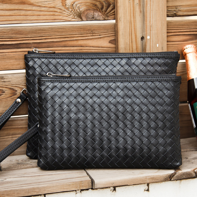 Woven Leather Men's Clutch Bag