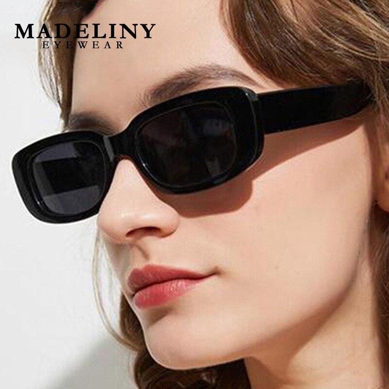 Классические небольшие прямоугольные солнцезащитные очки MADELINY, женские/мужские брендовые дизайнерские Винтажные Солнцезащитные очки, очк...