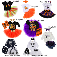 Baby girl costume halloween outfit Long Sleeve baby girl cute set Top+Bowknot Tulle Skirt infant my first halloween clothing D20 цена 2017