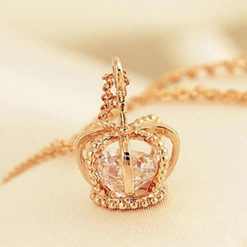 Crown Pendant Necklace Rose Gold Color Fashion Women Crystal Wedding choker necklace Jewelry for Lady Gifts bijoux