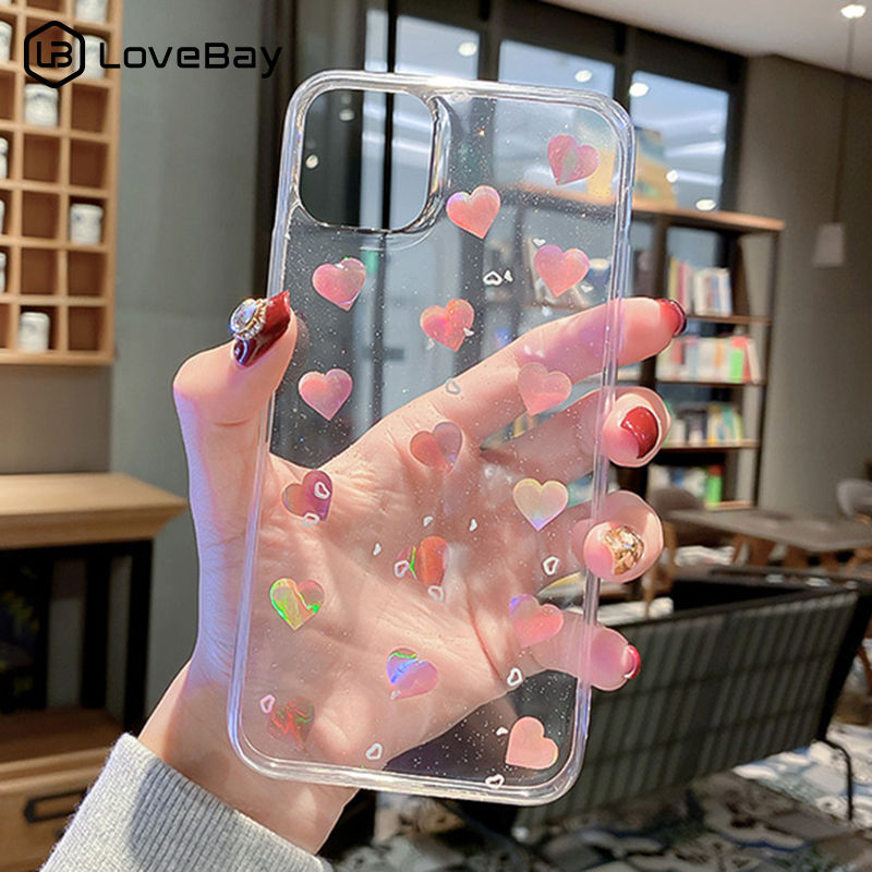 Lovebay Laser Love Heart Phone Case For IPhone 11 11 Pro X XR XS Max 8 7 6 6s Plus Glitter Bling Clear Soft Silicone Back Cover