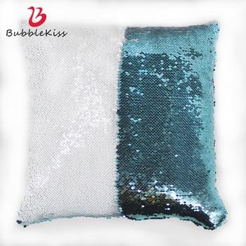 Bubble Kiss Sequin Pillowcase Party Decor Modern DIY Decor Pillow Cover Fashion Changing Color Festival 40cmX40cm