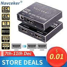 חדש 4K 60Hz HDR HDMI 2.0 ספליטר 1x2 ספליטר HDMI 2.0 4K תמיכה HDCP 2.2 UHD HDMI ספליטר 2.0 מתג תיבת עבור PS4 מקרן