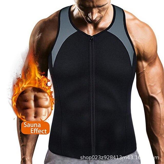 Men Sauna Sweat Vest Tank Top Shirt Weight Loss Waist Trainer Workout Body Shaper Men Slimming Vest Neoprene Corsets Zipper