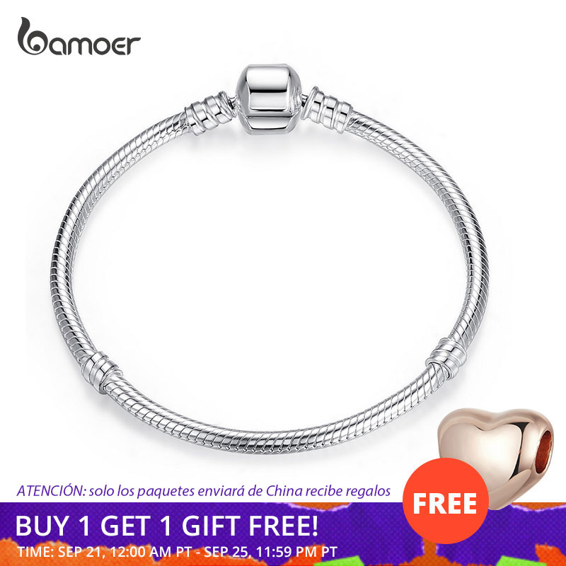 BAMOER TOP SALE Authentic 100% 925 Sterling Silver Snake Chain Bangle & Bracelet for Women Luxury Jewelry 17-20CM PAS902(China)