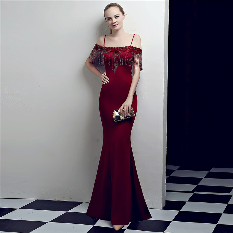 Skyyue Evening Dress Boat Neck Women Party Dresses Off The Shoulder Robe De Soiree 2019 Short Sleeve Crystal Formal Gowns C123 in Evening Dresses from Weddings Events