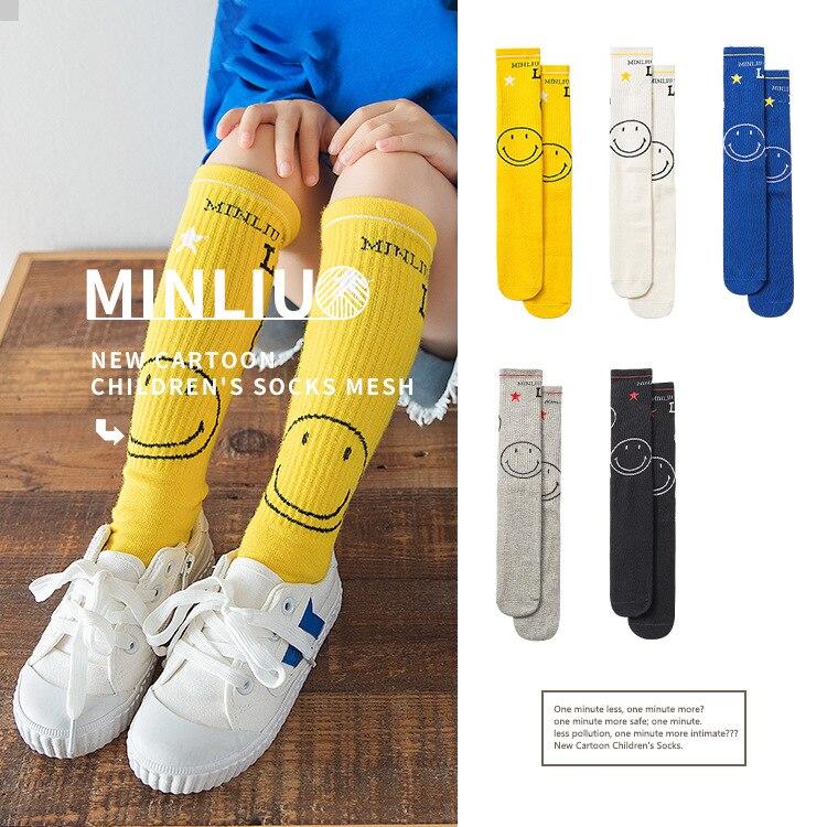 Kids Knee High Socks Girls Kid Socks Stockings Child Long Knee Sock Smiley Face Color Sock For Girls Child Letter For 2-8Y
